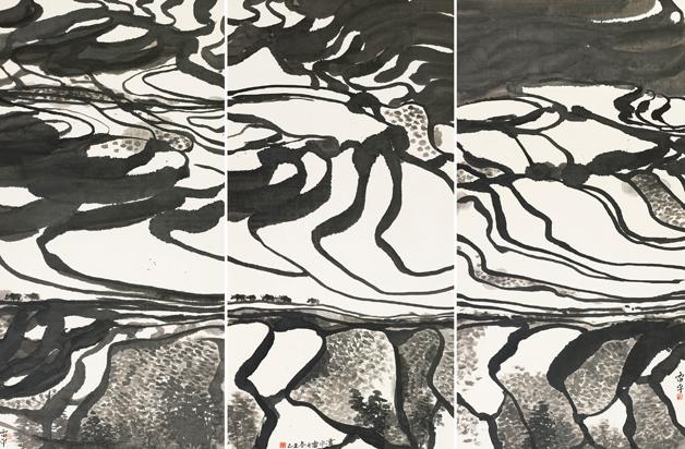 <h2>大写山田 </h2><p>作者:张雷平</p><p>规格:136×68cm×3</p><p>品类:中国画</p>